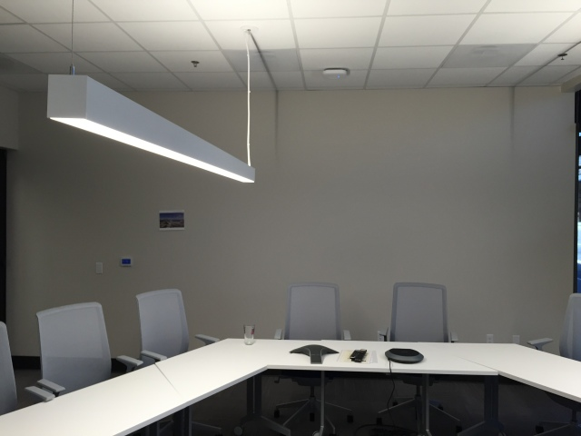The video conference room wall where the image was to reside. It would be the backdrop to all video conferences from this room.