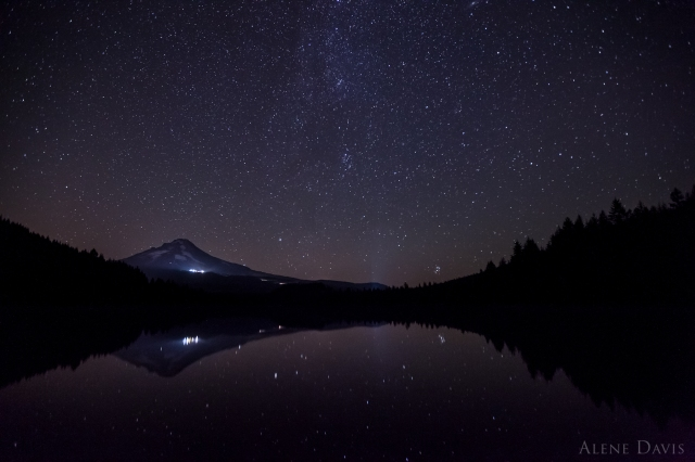The stars over Mt. Hood and Trillium Lake.