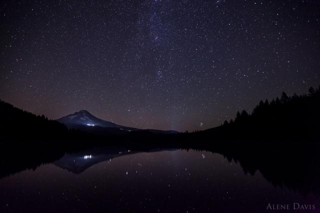The stars over Mt. Hood and Trillium Lake.
